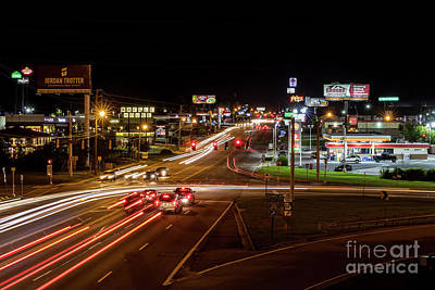 Photograph - Washington Road At Night - Augusta Ga by Sanjeev Singhal