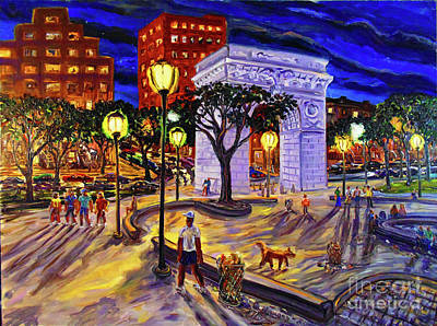 Painting - Washington Square Park With Dealer by Arthur Robins