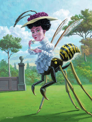 Digital Art - Wasp Woman Insect Drinking Tea Fantasy by Martin Davey