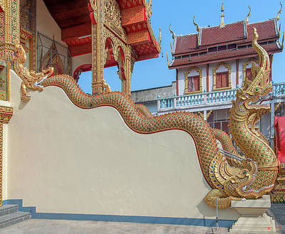 Photograph - Wat Chai Mongkon Phra Ubosot Makara And Naga Guardian Dthlu0396 by Gerry Gantt
