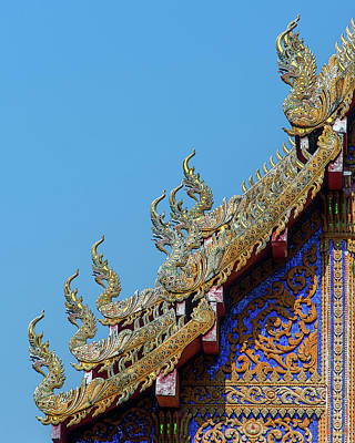 Photograph - Wat Ko Chok Phra Wihan Makara And Naga Roof Finials Dthcm2698 by Gerry Gantt