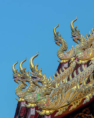 Photograph - Wat Ko Chok Phra Wihan Makara And Naga Roof Finials Dthcm2700 by Gerry Gantt