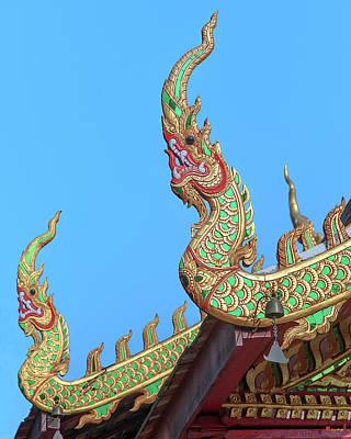 Photograph - Wat Nong Khrop Phra Ubosot Naga Roof Finials Dthcm2665 by Gerry Gantt