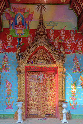 Photograph - Wat Puack Chang Phra Wihan Center Doors Dthcm0161 by Gerry Gantt