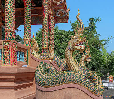 Photograph - Wat Rong Khut Phra Ubosot Makara And Naga Guardians Dthcm2727 by Gerry Gantt