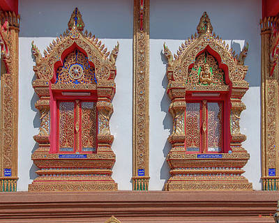Photograph - Wat Rong Khut Phra Ubosot Windows Dthcm2728 by Gerry Gantt
