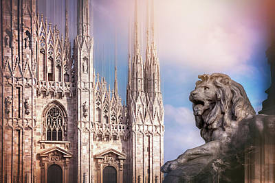 Lovely Lavender - Watching Over The Duomo Milan Italy  by Carol Japp
