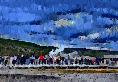 Wild And Wacky Portraits Rights Managed Images - Watching the geyser at Yellowstone Royalty-Free Image by Ashish Agarwal