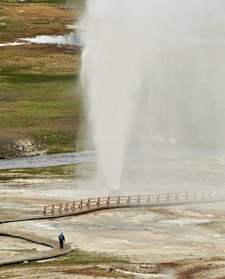 Photograph - Watching Yellowstone's Beehive Geyser by Bruce Gourley