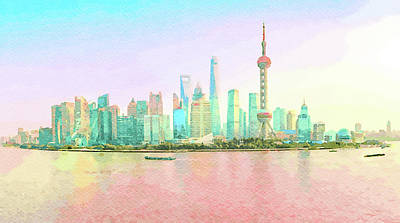 Digital Art - Water Color Of Skyline Of The City Of Shanghai At Sunset by Steven Heap