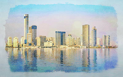 Digital Art - Water Color Of Skyline Of The City Of Xiamen With Reflections by Steven Heap