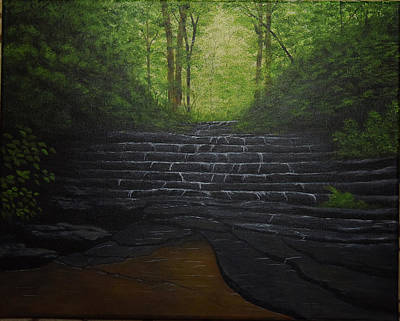 Painting - Water Fall Rocks by Gloria Johnson