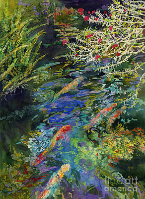 Animal Paintings David Stribbling - Water Garden by Hailey E Herrera