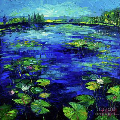 Water Lilies Story Impressionistic Impasto Palette Knife Oil Painting Mona Edulesco Original