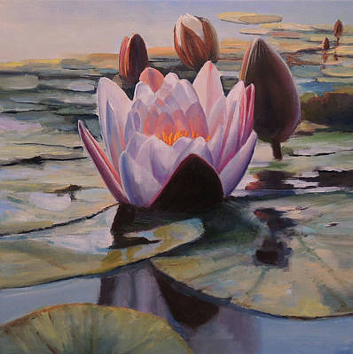 Wall Art - Painting - Water Lily Blossoms by Oleg Riabchuk
