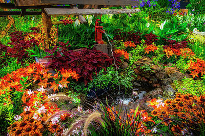 Photograph - Water Pump In Lush Garden by Garry Gay