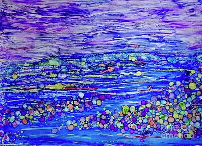 Sports Paintings - Water Sport Whimsy Impressionistic abstract by Patty Donoghue