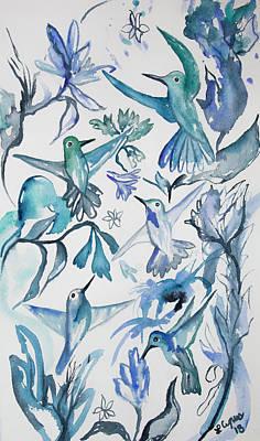 Superhero Ice Pops - Watercolor - Aqua and Blue Hummingbird Design by Cascade Colors