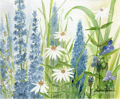 Watercolor Blue Flowers Art Print