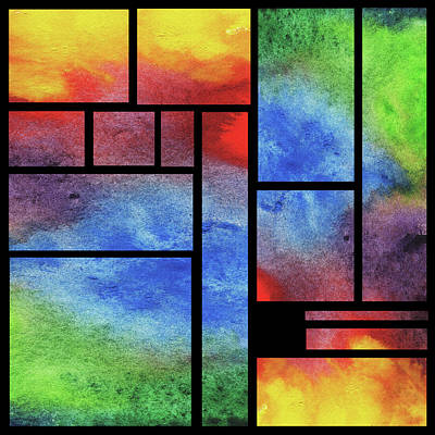 Royalty-Free and Rights-Managed Images - Watercolor Bright Vivid Geometry Blocks Abstract IV by Irina Sztukowski