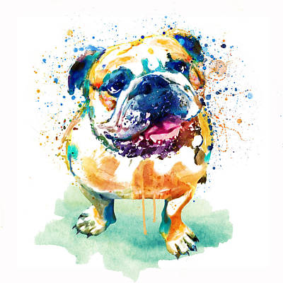 Watercolor Pet Portraits Wall Art - Painting - Watercolor Bulldog by Marian Voicu