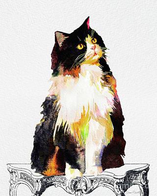 Watercolor Cat On Table B Original