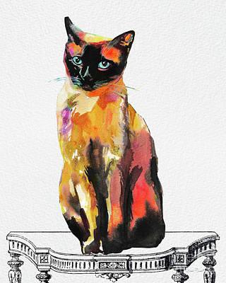 Watercolor Cat On Table C Original