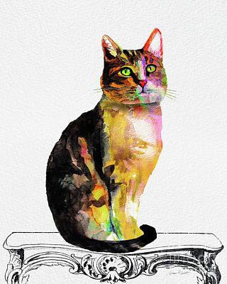 Watercolor Cat On Table D Original