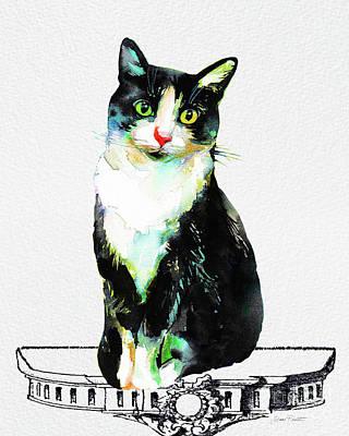 Watercolor Cat On Table E Original