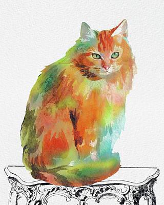 Watercolor Cat On Table F Original