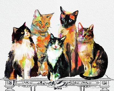 Watercolor Cat On Table G Original