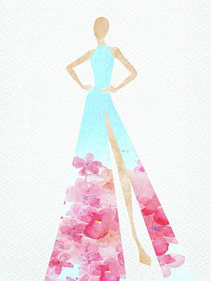 Digital Art Rights Managed Images - Watercolor elegant dress blue and pink Royalty-Free Image by Mihaela Pater