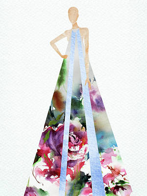 Digital Art Rights Managed Images - Watercolor floral dress Royalty-Free Image by Mihaela Pater