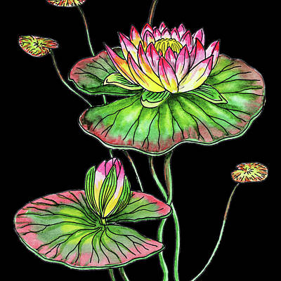 Lilies Royalty-Free and Rights-Managed Images - Watercolor Flower Waterlily by Irina Sztukowski