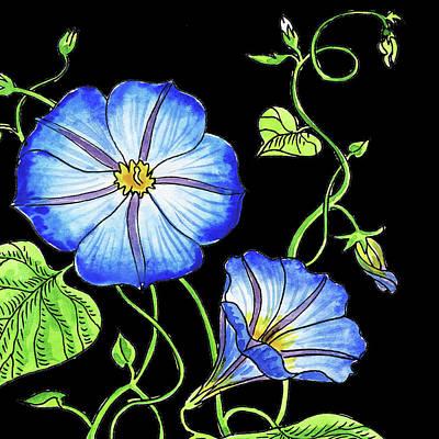 Painting - Watercolor Flowers Morning Glory by Irina Sztukowski