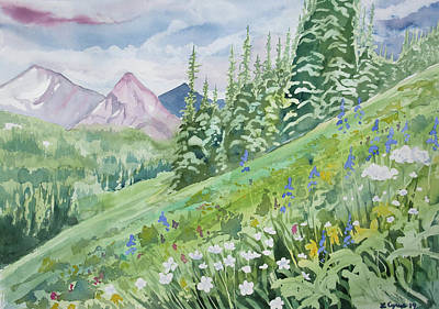 Painting - Watercolor - Fourth Of July Trail Summer Landscape by Cascade Colors