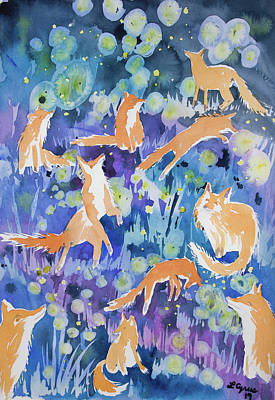 Painting - Watercolor - Fox And Firefly Design by Cascade Colors