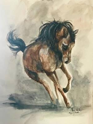 Pineapple - Watercolor Horse by Gea Van Eijk