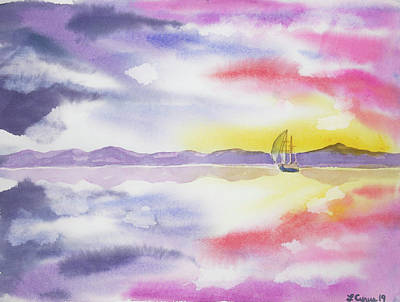 Pop Art - Watercolor- Mirror Bay with Gulet by Cascade Colors