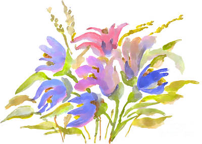 Painting - Watercolor Painting, Bouquet Of Spring Flowers On A White Backgr by Irina Dobrotsvet