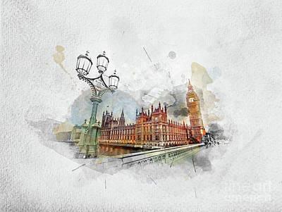 Photograph - Watercolor Painting Of Big Ben, London The Uk by Michal Bednarek