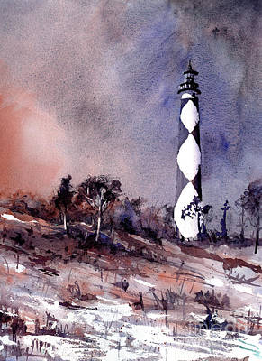 Painting - Watercolor Painting Of Cape Lookout Lighthouse By Ryan Fox- Rale by Ryan Fox