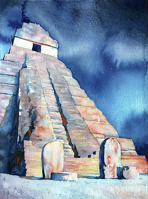 Watercolor Painting Of Mayan Temple And Stelae At Unesco World H Original