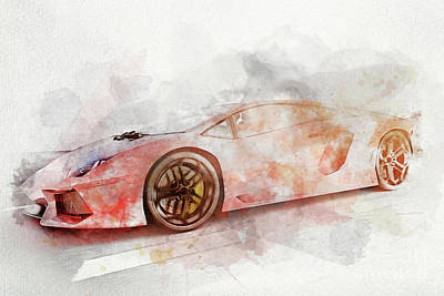 Photograph - Watercolor Painting Of Modern Red Sports Car. by Michal Bednarek