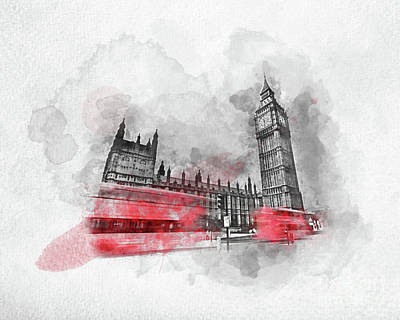 Photograph - Watercolor Painting Of Red Bus In London, The Uk. by Michal Bednarek