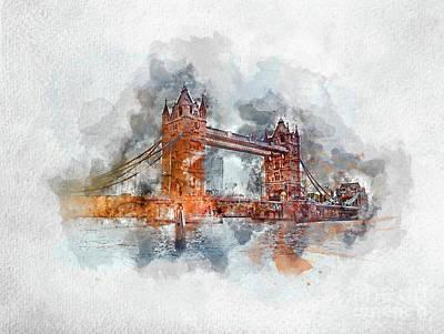 Photograph - Watercolor Painting Of Tower Bridge In London by Michal Bednarek