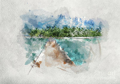 Photograph - Watercolor Painting Of Wooden Jetty In Maldives by Michal Bednarek