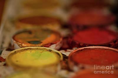 Photograph - Watercolor Palette Yellow by Susan Warren