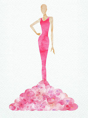 Digital Art Rights Managed Images - Watercolor pink elegant dress Royalty-Free Image by Mihaela Pater