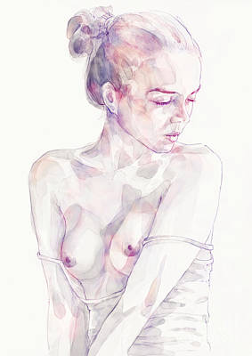 Painting - Watercolor Portrait Of Young Beautiful Woman by Dimitar Hristov